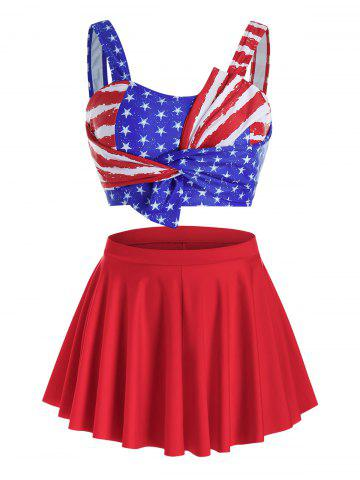 Plus Size American Flag Three Pieces Twist Skirted Tankini Swimwear