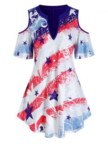 Plus Size American Flag Cold Shoulder Butterfly Print Tunic Tee - DEEP BLUE - 1X