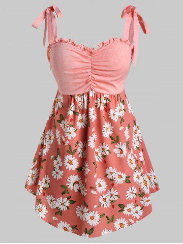 Plus Size Ruffles Ruched Flower Print Tank Top - PINK ROSE - 2X