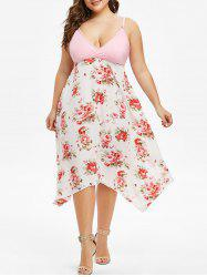 Plus Size Cami Floral Surplice Dress -