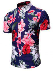 Tropical Flower Leaf Print Vacation Shirt -