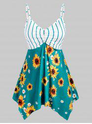 Plus Size Handkerchief Striped Sunflower Print Tank Top -