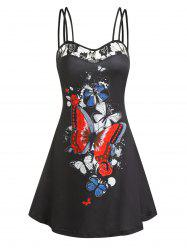 Butterfly Print Lace Panel Cami A Line Dress -
