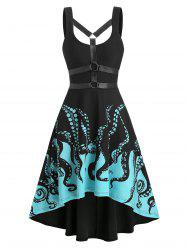 Harness Insert Octopus Print Gothic Dress -
