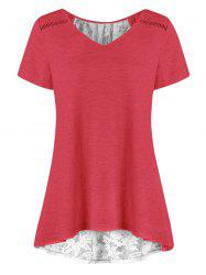 Lace Panel Sheer Lace-up Tunic Tee -