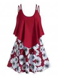 Plus Size Floral Print Ruffle Swim Dress With Briefs -