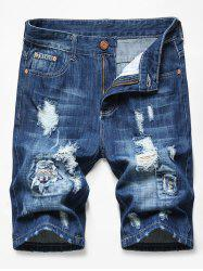Patchworks Ripped Decorated Denim Shorts -