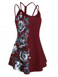 Plus Size Floral Print Cutout Cami Top -