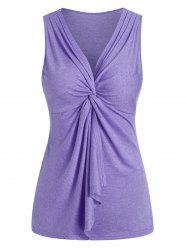 Twist Front Plunge Neck Flounce Heathered Tank Top -