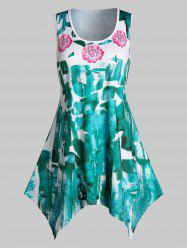 Plus Size Flower Brush Print Handkerchief Tank Top -