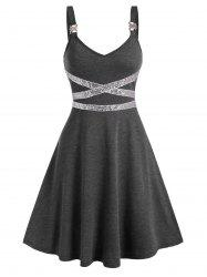 Sequin Panel Sleeveless Flare Dress -