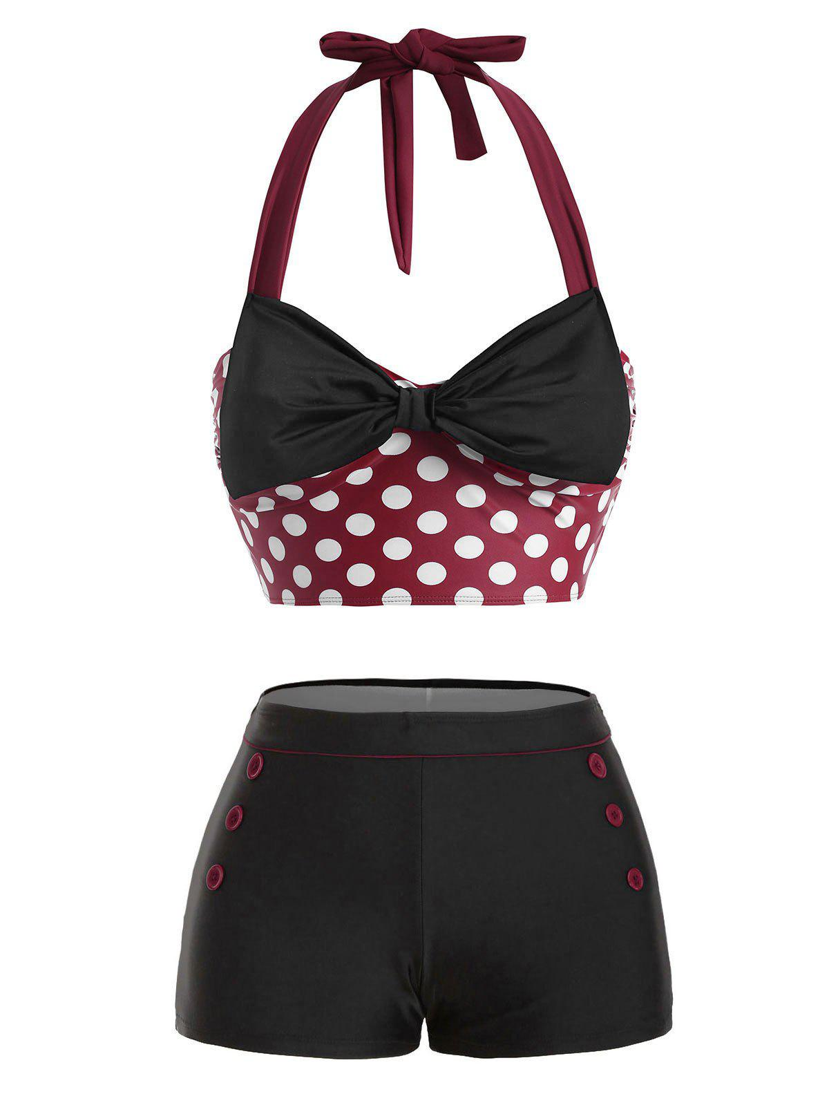 Outfits Bowknot Halter Button Embellished Moulded Bikini Swimwear