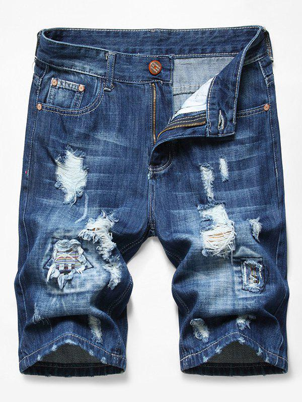 Trendy Patchworks Ripped Decorated Denim Shorts