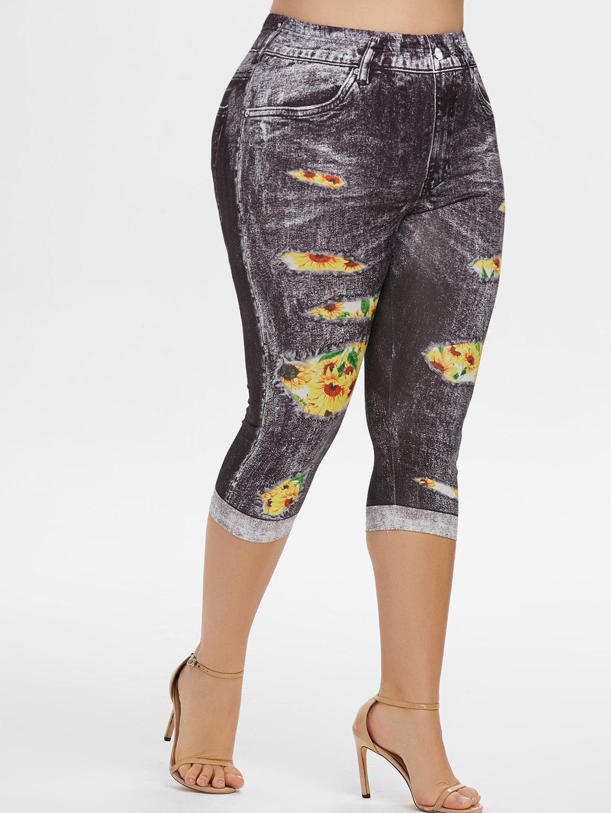 Affordable High Waisted 3D Sunflower Plus Size Capri Jeggings