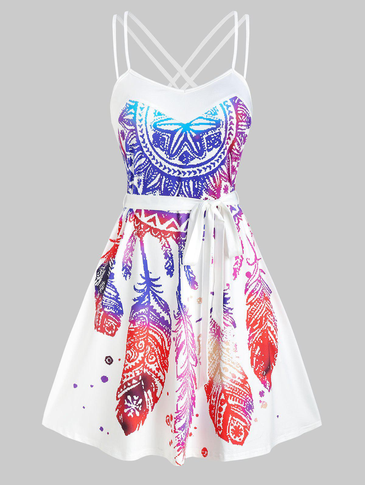 New Dream Catcher Bohemian Print Sleeveless Belted Dress