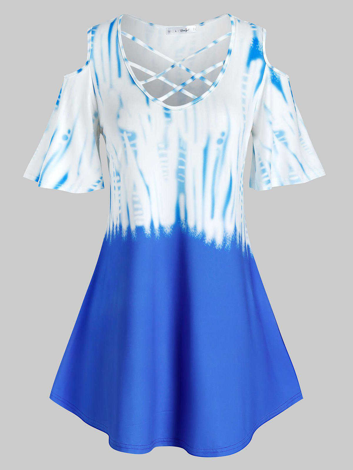 Outfits Plus Size Cold Shoulder Tie Dye Crisscross Tunic Tee