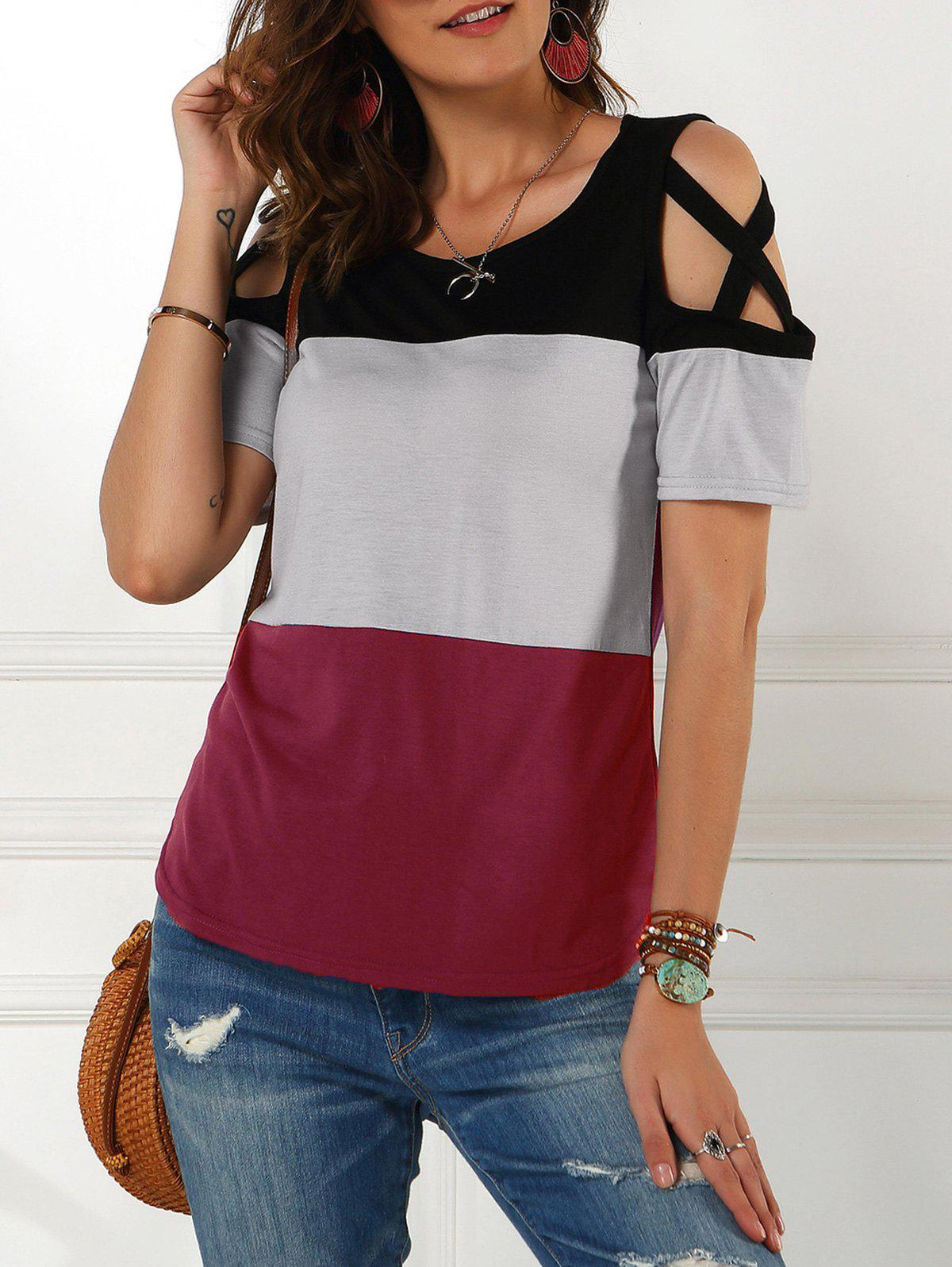 Outfit Open Shoulder Cross Color Blocking Tee