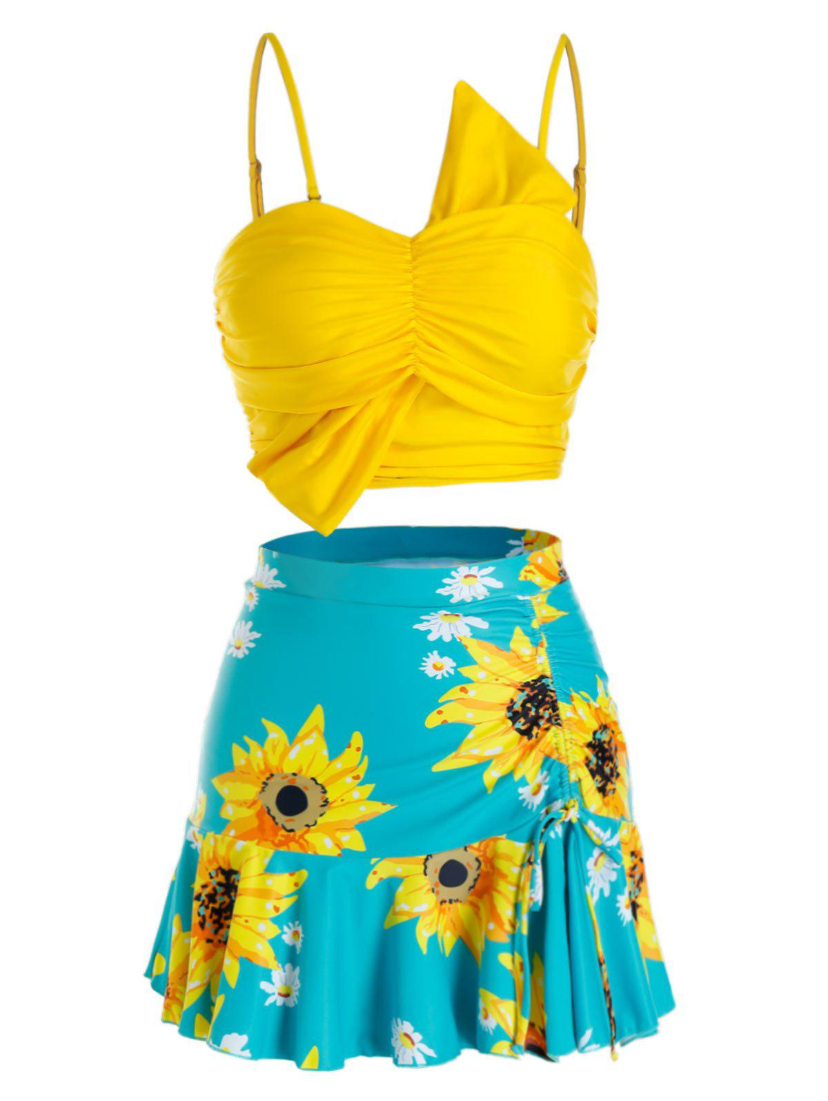 Discount Plus Size Sunflower Flounce Three Pieces Skirted Tankini Swimwear