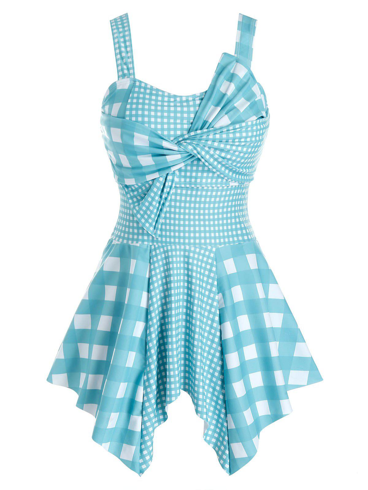 New Plus Size Plaid Twist Handkerchief Asymmetric Tankini Swimwear