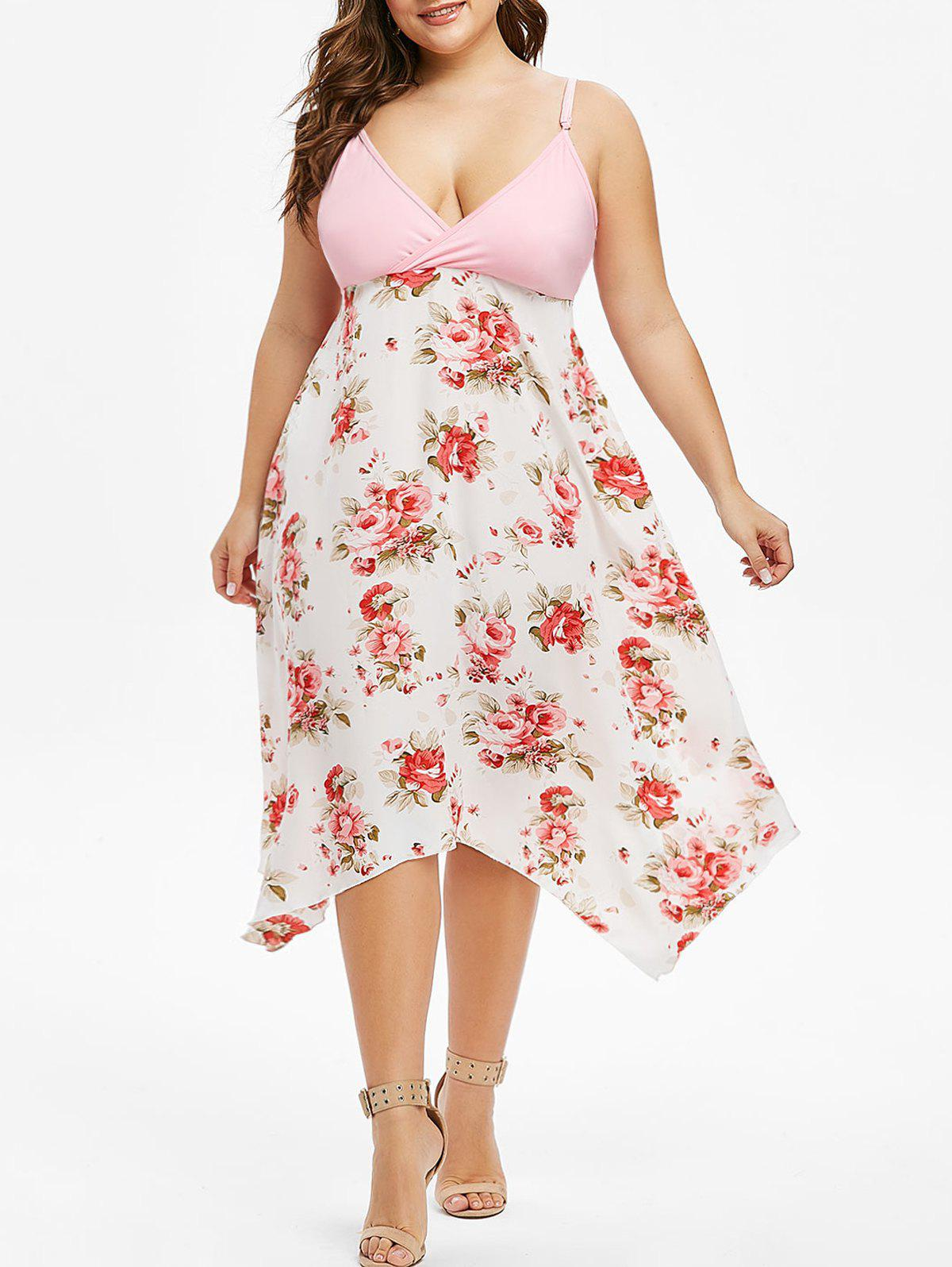Buy Plus Size Cami Floral Surplice Dress