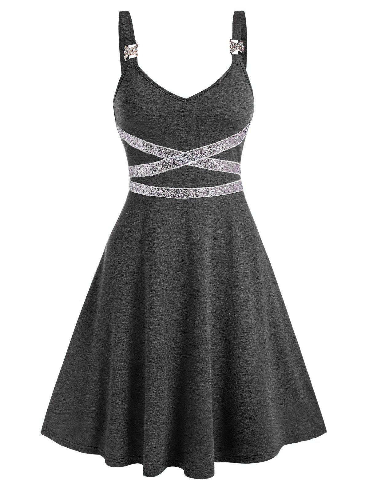 Fashion Sequin Panel Sleeveless Flare Dress