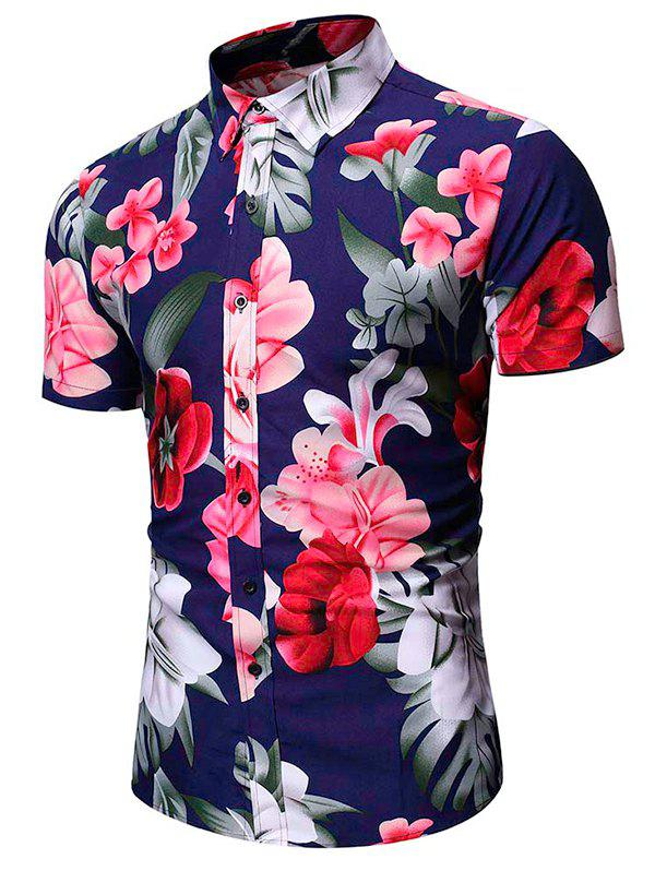 Hot Tropical Flower Leaf Print Vacation Shirt