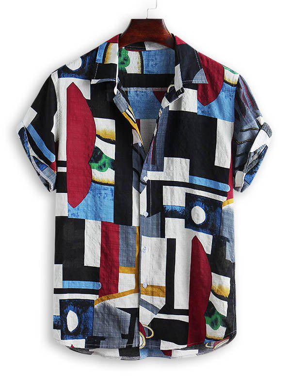 Store Geometric Spliced Print Short Sleeve Shirt