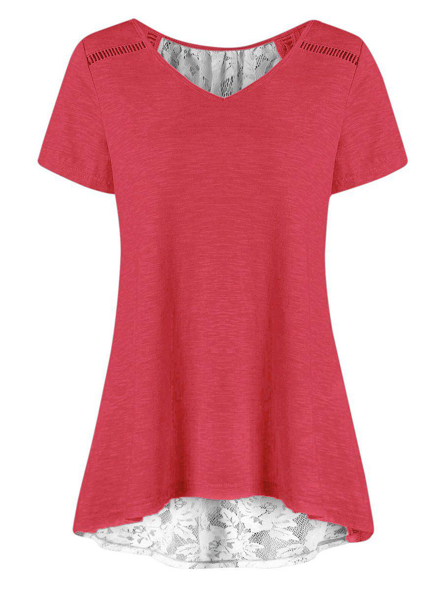 Affordable Lace Panel Sheer Lace-up Tunic Tee