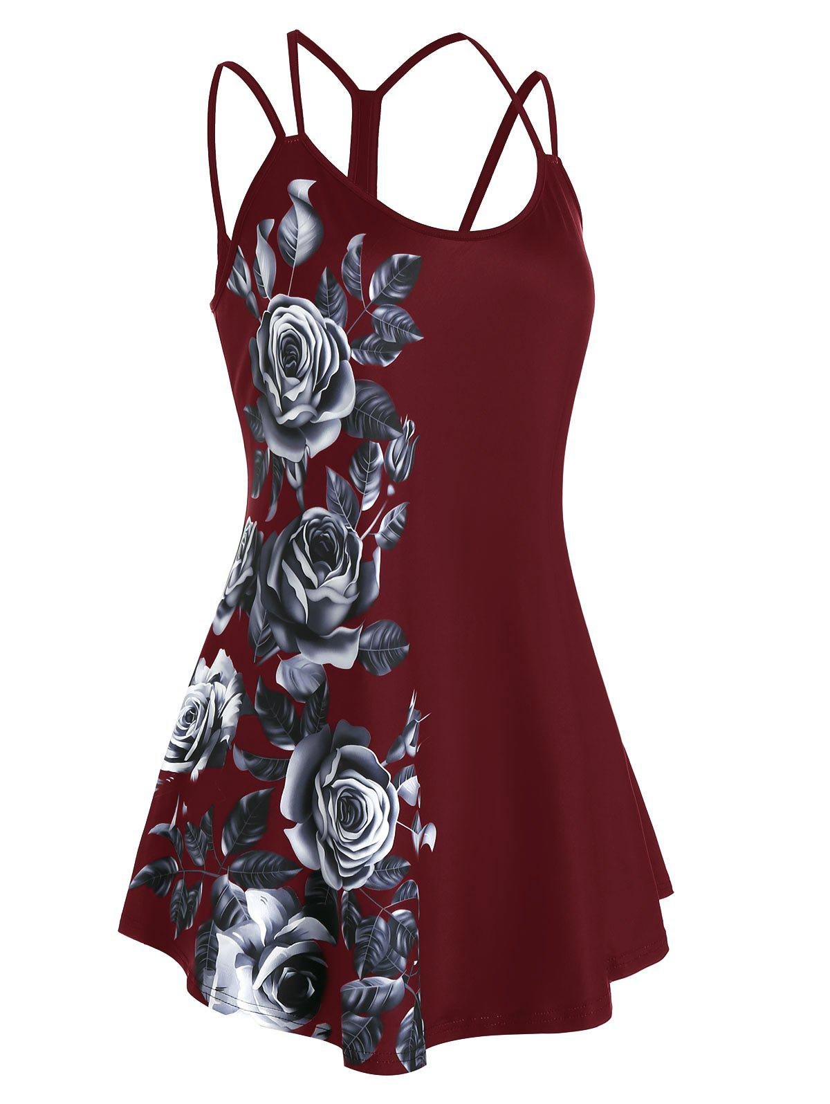 Affordable Plus Size Floral Print Cutout Cami Top