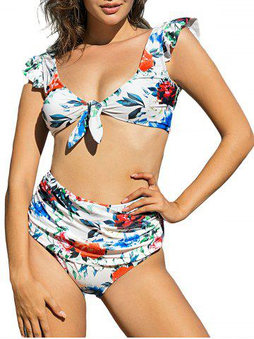 Flower Print Ruffle Knotted Bikini Swimwear - WHITE - 2XL