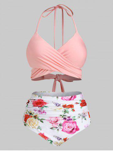Plus Size Flower Crossover High Waisted Ruched Bikini Swimwear
