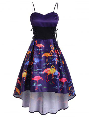 Robe Flamant Imprimé à Taille Empire - PURPLE AMETHYST - 2XL