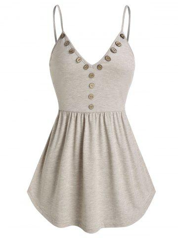 Pure Color Button Skirted Cami Tank Top