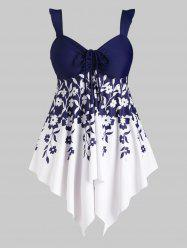 Flounced Handkerchief Floral Cinched Front Plus Size Tankini Swimwear -