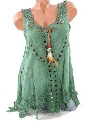 Plus Size Feather Openwork Tank Top -