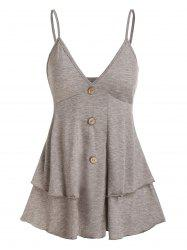 Mock Button Layered Flounce Cami Tank Top -