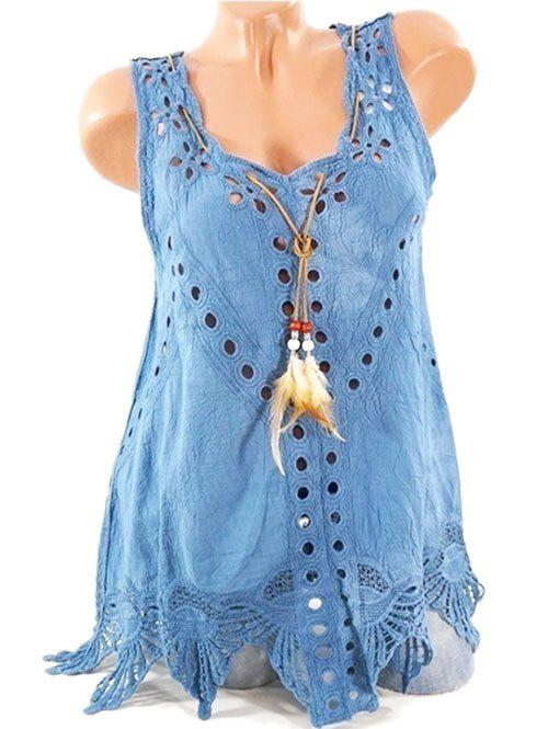 Trendy Plus Size Feather Openwork Tank Top