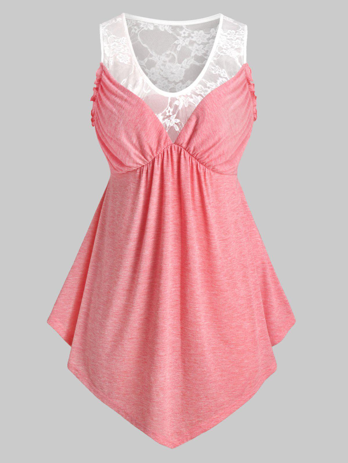 Online Plus Size Lace Panel See Thru Empire Waist Tunic Tank Top