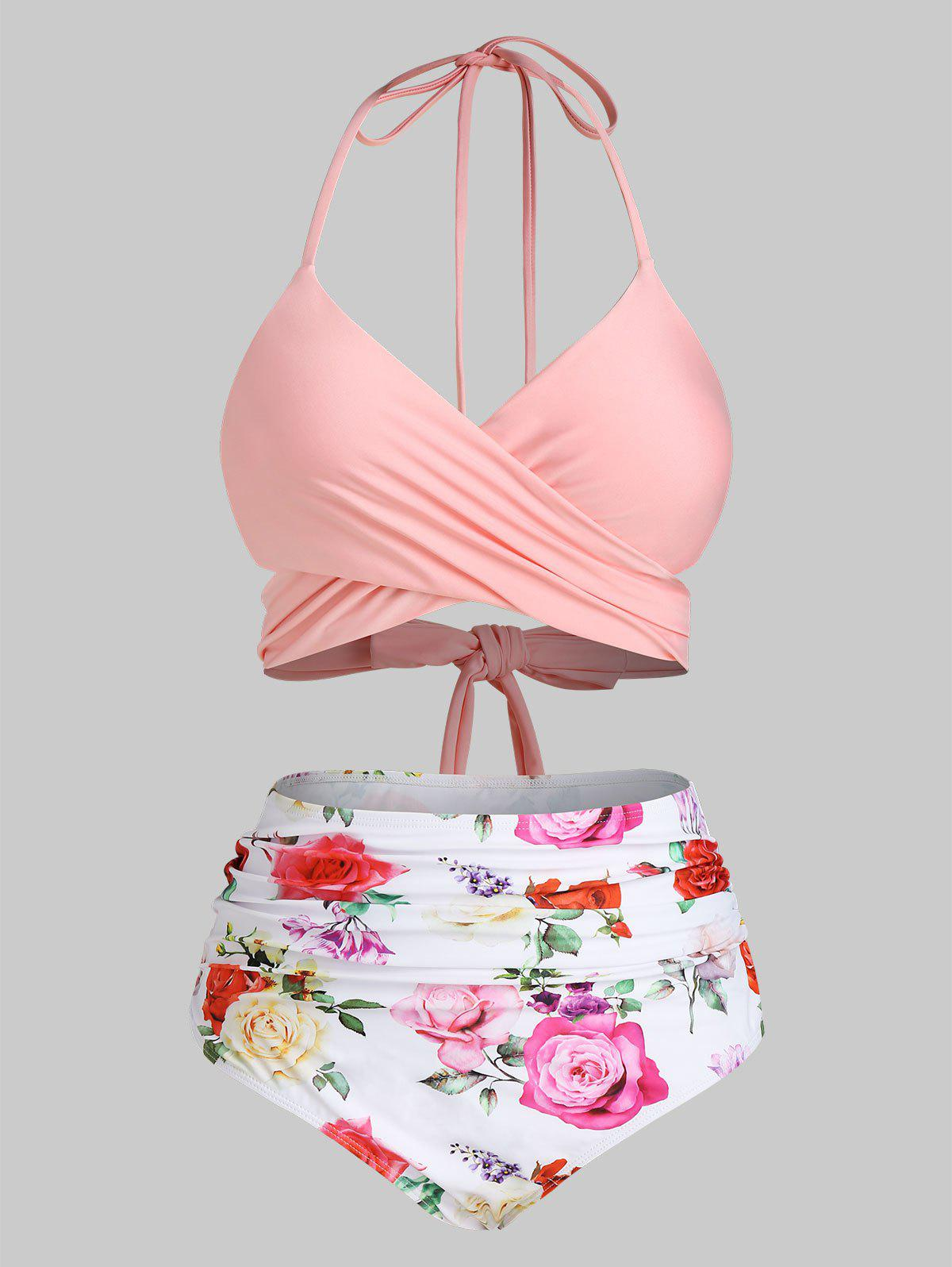 Outfit Plus Size Flower Crossover High Waisted Ruched Bikini Swimwear