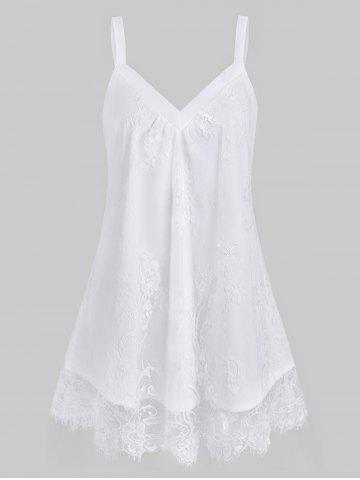 Plus Size Floral Lace Overlay Sweetheart Neck Tank Top - WHITE - 5X