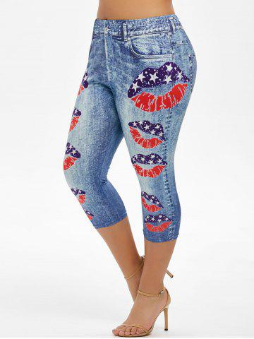 Plus Size American Flag Lip Print Capri Jeggings - BLUE KOI - 3X