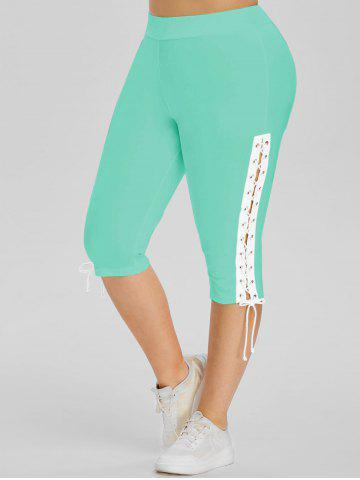 High Waisted Lace Up Side Plus Size Capri Pants - GREEN - 5X