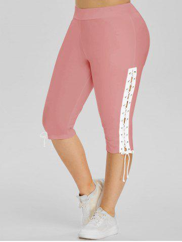 High Waisted Lace Up Side Plus Size Capri Pants - PINK - 3X