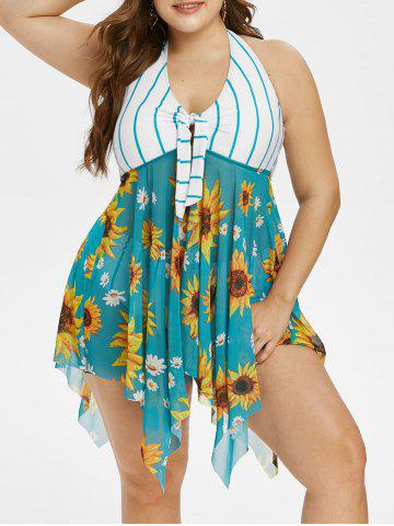 Plus Size Halter Handkerchief Sunflower Print Stripe Tankini Swimwear - GREENISH BLUE - 3X