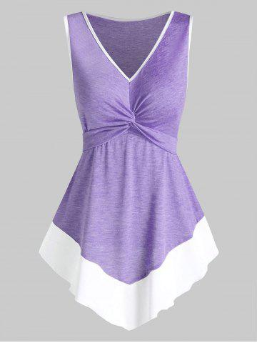 Twist Front Pointed Hem Contrast Flare Tank Top
