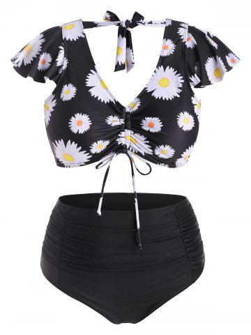 Cinched Front Tie Back Daisy Print Plus Size Two Piece Swimsuit - BLACK - 1X