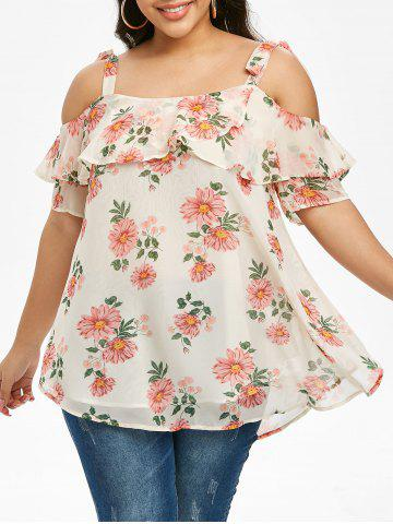 Plus Size Tie Shoulder Floral Print Chiffon Blouse - WARM WHITE - L