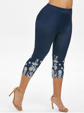 High Waisted Printed Plus Size Capri Leggings - BLUE - 1X