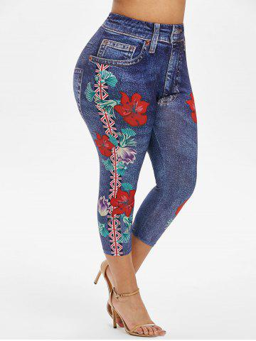 Plus Size 3D Flower Flag Print High Rise Capri Jeggings - OCEAN BLUE - 1X