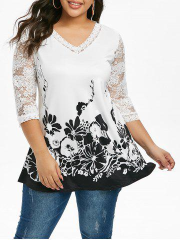 Plus Size Floral Design Lace Panel T Shirt - WHITE - 4X